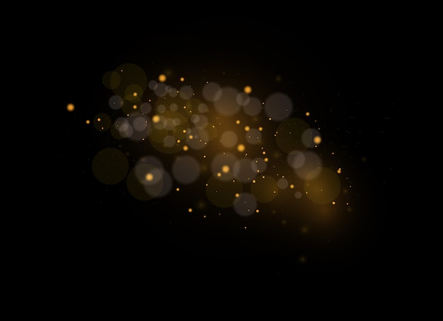 The dust sparks and golden stars shine with special light. sparkling magical dust particles.