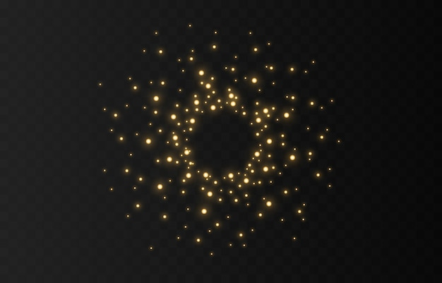 Dust sparks and white shiny stars with linear light.   sparkles on a transparent background. light effect. sparkling magical dust particles.