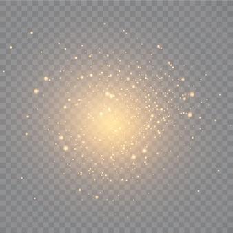 먼지. 하얀 불꽃과 황금빛 별이 특별한 빛으로 빛납니다.