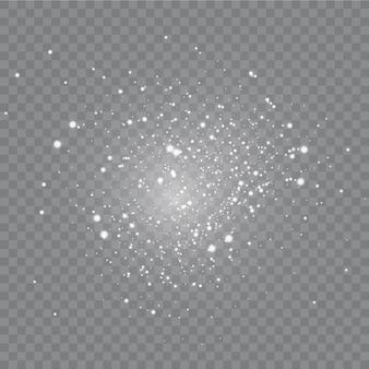 ほこり 。白い火花と金色の星が特別な光で輝いています。
