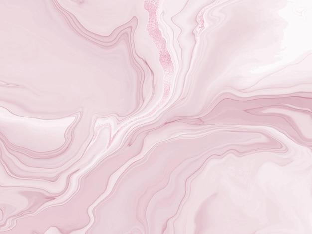 ほこりっぽいバラの液体の流れる大理石またはキラキラ箔テクスチャストライプと水彩の背景