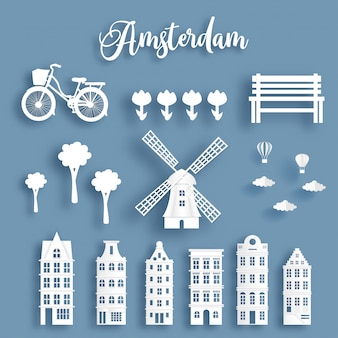 Dutch symbol with famous landmark in pack. paper cut style