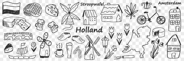 네덜란드 전통 기호 낙서 세트. 손으로 그린 다양한 징후의 컬렉션 이동 네덜란드 치즈 풍차 커피 자전거 튤립 보트 맥주 램프 건물 투명 배경에 고립