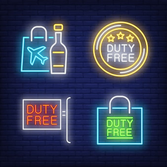 Duty free neon sign set. bottle of alcohol