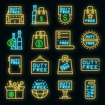 Duty free shop icons set. outline set of duty free shop vector icons neon color on black
