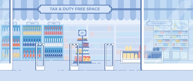 Duty-free shop showcase in airport in flat style