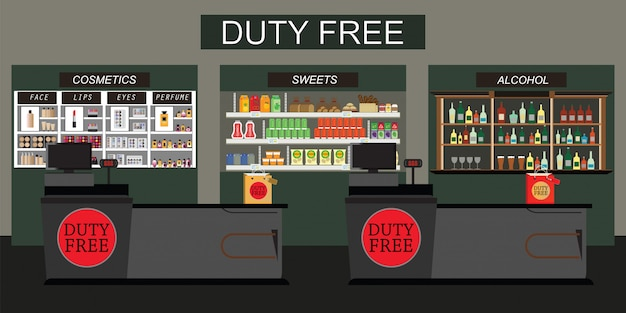 Duty free store with counter cashier.