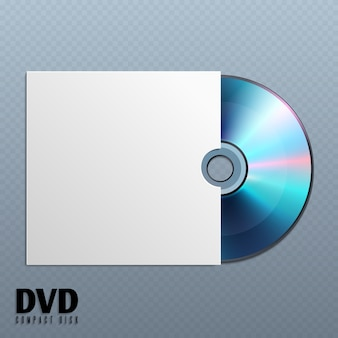 Dvd cd disk with white empty envelope cover illustration.