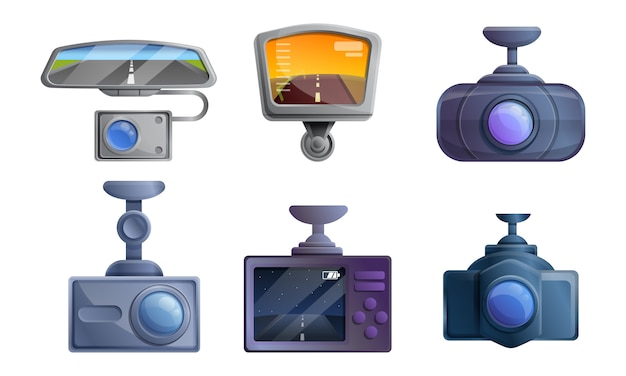 Dvr icons set, cartoon style