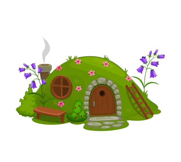 Dwarf or gnome house, fairytale dugout hut cartoon .