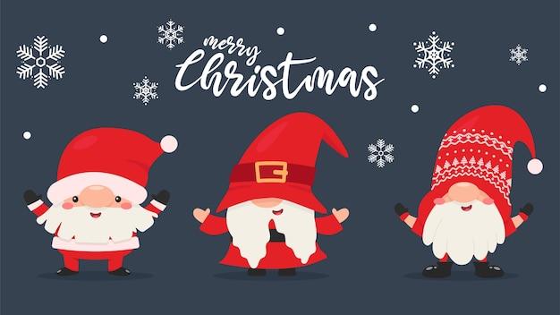 赤いドレスと帽子をかぶったドワーフのノームは、雪の降る冬のクリスマスを祝います。