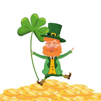 Dwarf man holding clover fortune