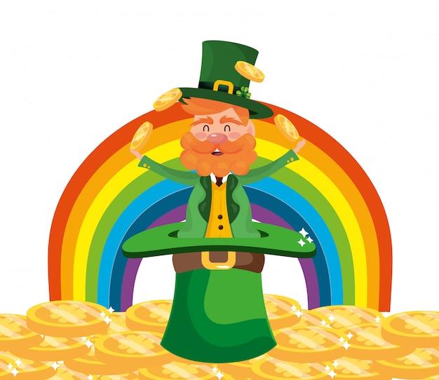 Dwarf man juggle gold rainbow