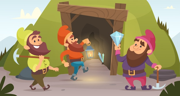 Dwarves in the mine.  characters  dwarves which mine golden rocks