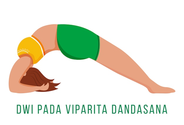 Dwi pada viparita dandasana flat illustration. dropping back to bench. caucausian woman performing yoga posture in green and yellow sportswear. isolated cartoon character on white background