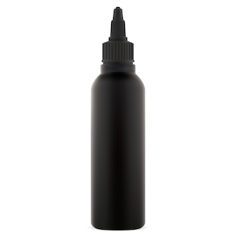 Dye hair color bottle. black cosmetic tube