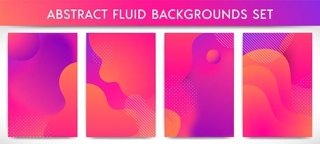 動的3d流体形状の垂直バナーセット。抽象的な現代的な液体の色の背景。グラデーションの幾何学的なデザイン要素。
