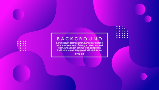 Dynamic abstract background template with fluid and circle shape. purple color with modern style
