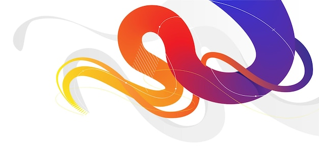 Dynamic abstract colorful curvy liquid lines