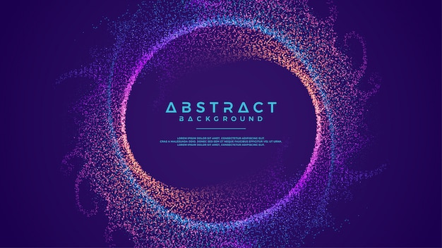 Dynamic abstract flow particles circle background.
