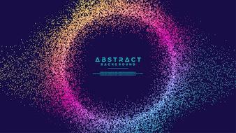 Динамический абстрактный поток частиц жидкости круг фон.