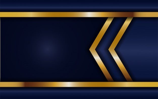 Dynamic abtract dark blue background with gold line. background abstract modern