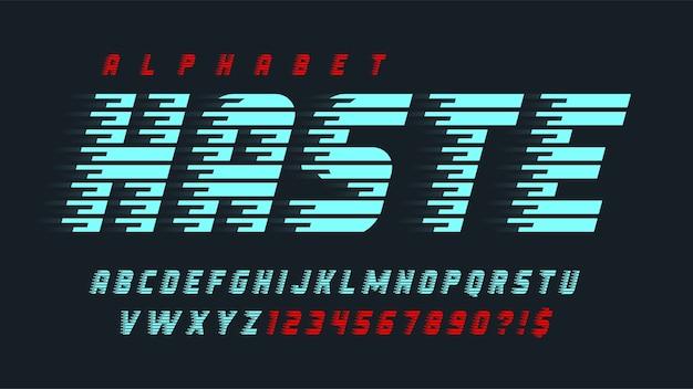동적 알파벳 디자인, 문자 및 숫자.