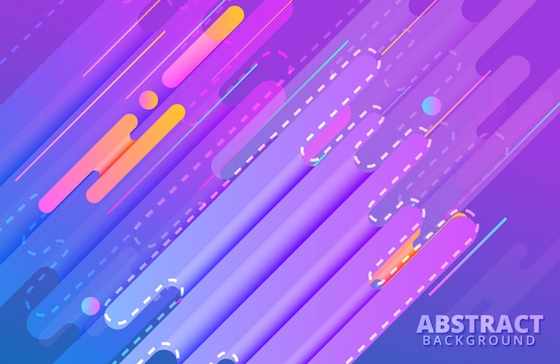 Dynamic background with abstract shapes composition and vivid color
