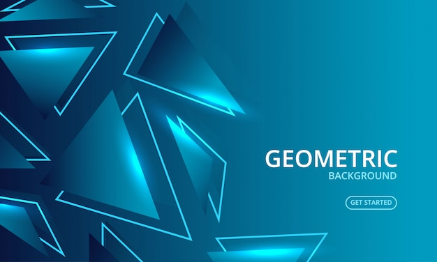 Dynamic blue geometric glow abstract background
