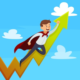 Dynamic career design concept with superman in cloak near growing arrow on blue sky background vector illustration
