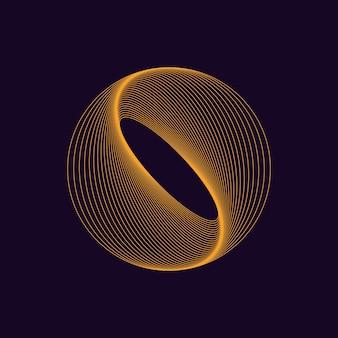 Динамическая форма круга дизайн с линейными волнами