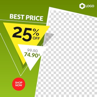 Dynamic editable instagram sale post and web banner with empty abstract frame