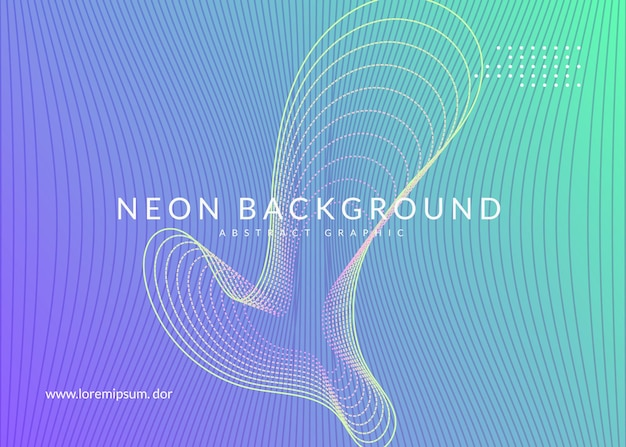 Dynamic fluid shape and line. bright discotheque neon music background. electro dance dj