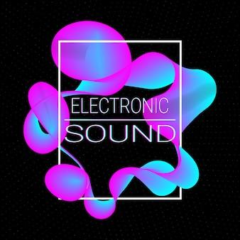 동적 유체 모양. 음악 파도입니다. 디지털 사운드.