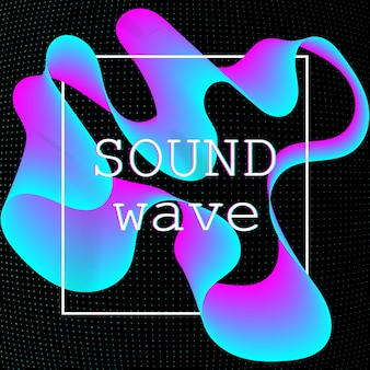 동적 유체 모양. 음악 웨이브. 디지털 사운드.