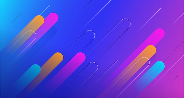Dynamic geometric abstract comet shape background design with trendy gradient color