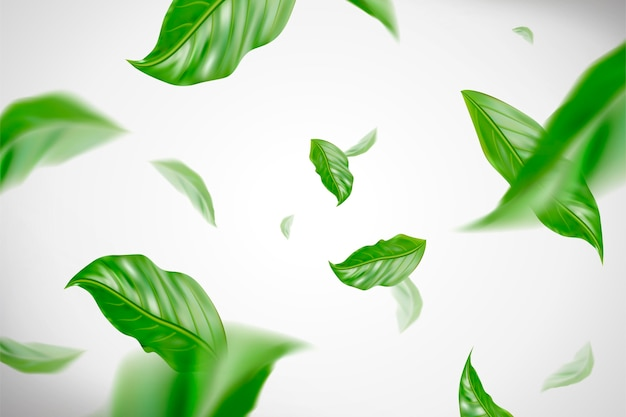 Dynamic green leaves flying in the air in 3d illustration