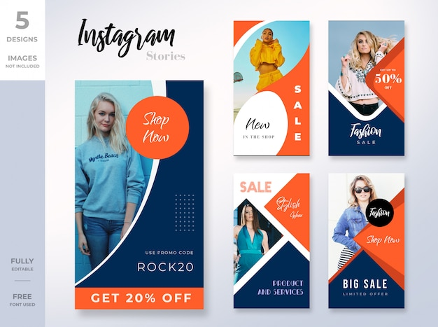 Dynamic instagram stories template set