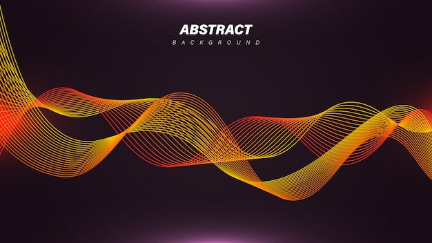 Dynamic linear waves background with orange color