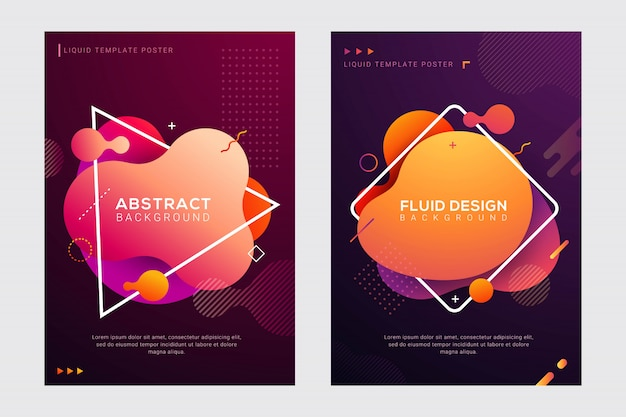 Dynamic modern fluid and liquid cover design set