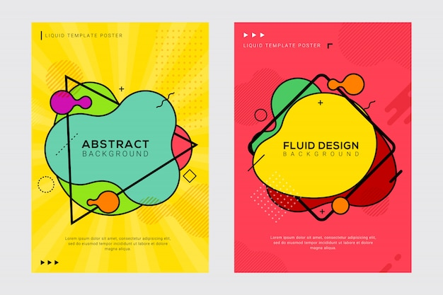 Dynamic modern fluid and liquid cover design with pop art style set