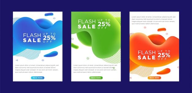 Dynamic modern fluid mobile flash sale banners.