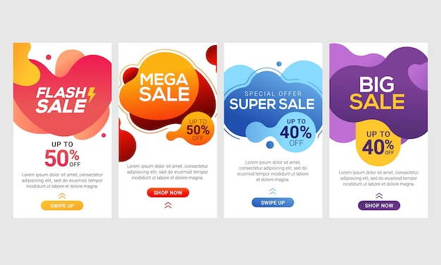 Dynamic modern fluid mobile for flash sale banners