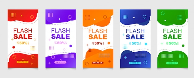 Dynamic modern fluid mobile for sale banners.