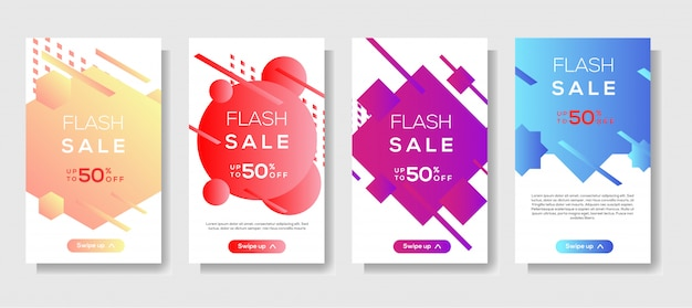 Dynamic modern shape mobile for flash sale banner template
