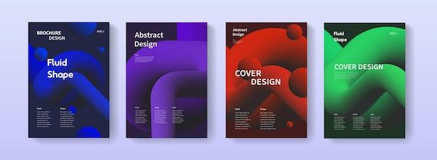 液体の液体の形で設定されたダイナミックなポスター。パンフレット、バナー、プリント、フレア、カードのa4サイズの抽象的なグラデーションの背景イラスト。