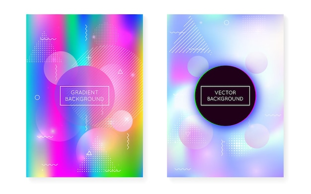 液体流体と動的形状の背景。メンフィスカバー付きホログラフィックバウハウスグラデーション。プラカード、プレゼンテーション、バナー、パンフレットのグラフィックテンプレート。虹色のダイナミックな形の背景。