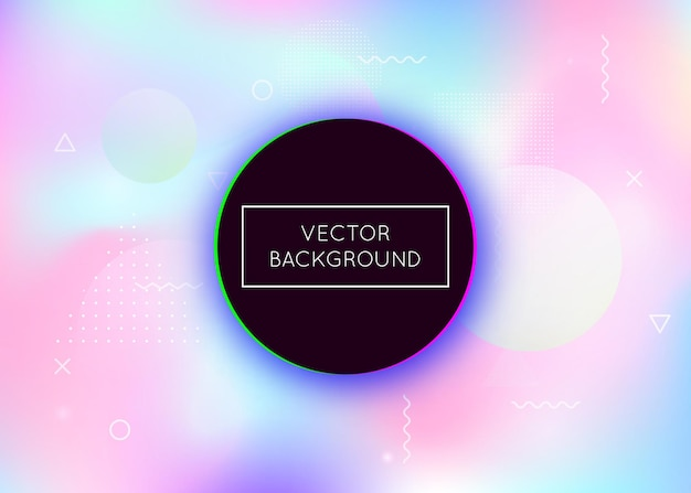 Dynamic shape background with liquid fluid. holographic bauhaus gradient with memphis elements. graphic template for book, annual, mobile interface, web app. iridescent dynamic shape background.