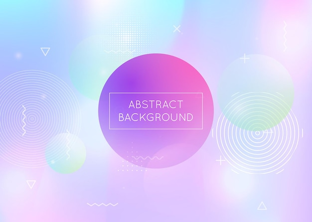 Dynamic shape background with liquid fluid. holographic bauhaus gradient with memphis elements. graphic template for brochure, banner, wallpaper, mobile screen. stylish dynamic shape background.