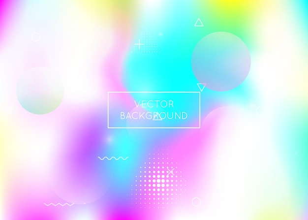 Dynamic shape background with liquid fluid. holographic bauhaus gradient with memphis elements. graphic template for brochure, banner, wallpaper, mobile screen. trendy dynamic shape background.
